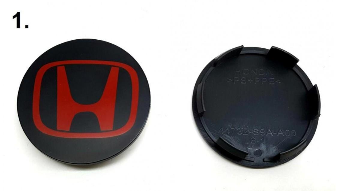 Center cap pour mag  Honda Civic    ( Noir et rouge )