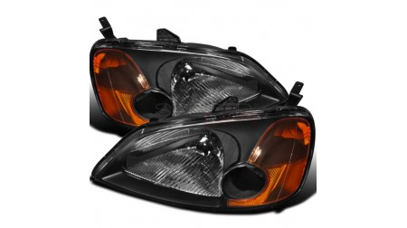 Lumières avant black housing Honda Civic 2001-03